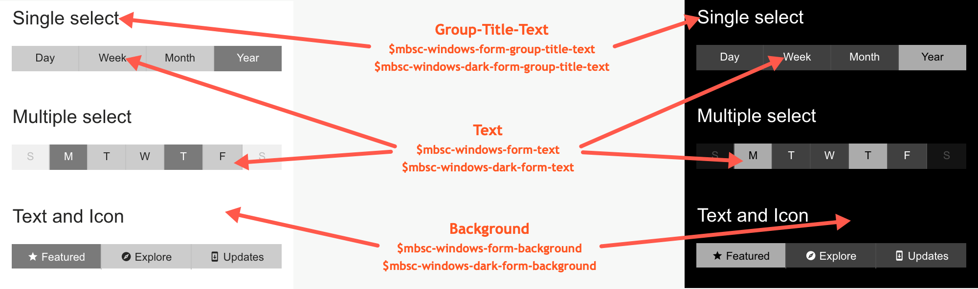 Windows theme variables for the Segmented component